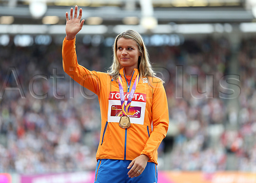 August 12th 2017, London Stadium, East London, England; IAAF World Championships, Day 9; Dafne Scippers of Netherlands waves to the crowd with the Gold medal for Women's 200 metres during the medal ceremony