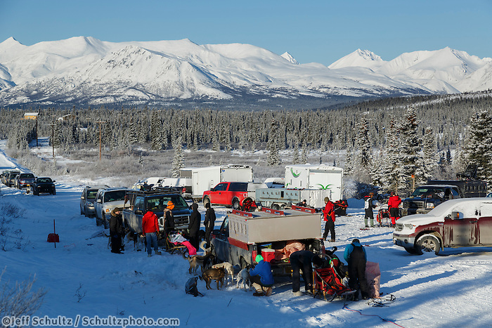 THe staging area of the 2015 Junior Iditarod start Denali Highway winter<br /> <br /> <br /> <br /> (C) Jeff Schultz/SchultzPhoto.com - ALL RIGHTS RESERVED<br />  DUPLICATION  PROHIBITED  WITHOUT  PERMISSION