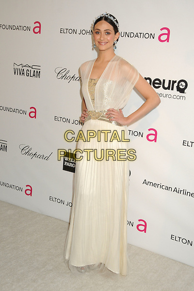 Emmy Rossum.21st Annual Elton John Academy Awards Viewing Party held at West Hollywood Park, West Hollywood, California, USA..February 24th, 2013.oscars full length dress white sheer blue pearls silver belt hairband hands on hips.CAP/ADM/BP.©Byron Purvis/AdMedia/Capital Pictures.