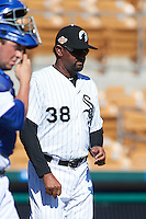 Glendale Desert Dogs pitching coach Jose Bautista (38) walks to the mound during an Arizona Fall League game against the Surprise Saguaros on October 24, 2015 at Camelback Ranch in Glendale, Arizona.  Surprise defeated Glendale 18-3.  (Mike Janes/Four Seam Images)
