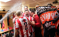 Lincoln City's Jonny Margetts, centre, celebrates with team-mates in the changing room after the game<br /> <br /> Photographer Chris Vaughan/CameraSport<br /> <br /> Vanarama National League - Lincoln City v Macclesfield Town - Saturday 22nd April 2017 - Sincil Bank - Lincoln<br /> <br /> World Copyright &copy; 2017 CameraSport. All rights reserved. 43 Linden Ave. Countesthorpe. Leicester. England. LE8 5PG - Tel: +44 (0) 116 277 4147 - admin@camerasport.com - www.camerasport.com