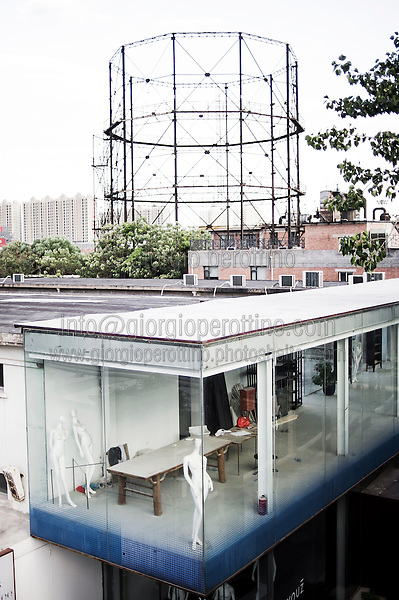 798 Art District (Chinese: 798艺术区; pinyin: 798 Yìshùqū), or Dashanzi Art District, is a 50-year old decommissioned military factory buildings with unique architectural style. Located in Chaoyang District of Beijing, that houses a thriving artistic community. Since the beginning of 2000, 798 has become a centre for art galleries, artists's ateliers and contemporary arts exhibitions. The buildings are within alleys number 2 and 4 on Jiǔxiānqiáo Lù (酒仙桥路), south of the Dàshānziqiáo flyover (大山子桥). <br /> <br /> © Giorgio Perottino