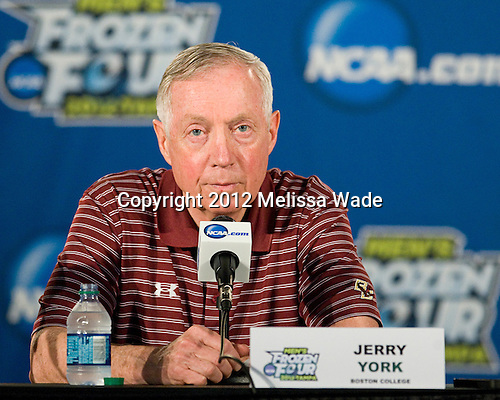 Jerry York (BC - Head Coach) - The Boston College Eagles practiced on Wednesday, April 4, 2012, during the 2012 Frozen Four at the Tampa Bay Times Forum in Tampa, Florida.