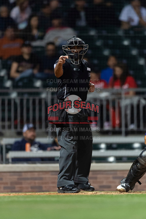 Umpire Nestor Ceja during a Pacific Coast League game between the El Paso Chihuahuas and Albuquerque Isotopes at Southwest University Park on May 10, 2019 in El Paso, Texas. Albuquerque defeated El Paso 2-1. (Zachary Lucy/Four Seam Images)