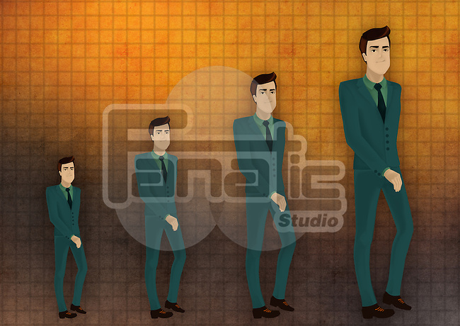 Multiple exposure of an executive in chronological order depicting the concept of performance growth