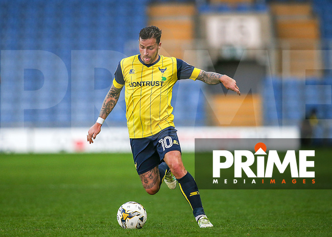 Chris Maguire of Oxford United in action during the The Checkatrade Trophy match between Oxford United and Exeter City at the Kassam Stadium, Oxford, England on 30 August 2016. Photo by Andy Rowland / PRiME Media Images.