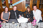 Pictured at a Christening Party of Rhys Horgan from Kilmorna, Listowel in Leens Hotel, Abbeyfeale on Saturday were L-R : Delia Sullivan (Godmother), Padraig Horgan(father), Baby Rhys Horgan, Mary Horgan (mother) and Colm Horgan (godfather).  Christening Mass took place in St. Mary's Church Listowel.
