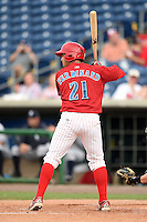 Clearwater Threshers outfielder Nick Ferdinand (21) at bat during a game against the Tampa Yankees on June 26, 2014 at Bright House Field in Clearwater, Florida.  Clearwater defeated Tampa 4-3.  (Mike Janes/Four Seam Images)