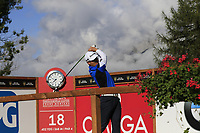 Daniel Im (USA) tees off the 18th tee during Thursday's Round 1 of the 2017 Omega European Masters held at Golf Club Crans-Sur-Sierre, Crans Montana, Switzerland. 7th September 2017.<br /> Picture: Eoin Clarke | Golffile<br /> <br /> <br /> All photos usage must carry mandatory copyright credit (&copy; Golffile | Eoin Clarke)
