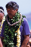 Nainoa Thompson in Kailua Beach at the arrival of Hokulea