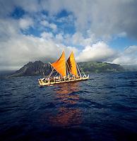 Polynesian voyaging canoe Hokule'a, Windward O'ahu, circa 1997.