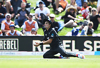 Tim Southee takes a catch to dismiss Ali.<br /> New Zealand Black Caps v England, ODI series, University Oval in Dunedin, New Zealand. Wednesday 7 March 2018. &copy; Copyright Photo: Andrew Cornaga / www.Photosport.nz