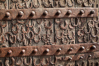Fatehpur Sikri, Uttar Pradesh, India.  Horseshoes nailed to Door of Buland Darwaza (Great Gate) Entrance to the Jama Masjid Courtyard.
