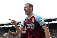 Burnley's Chris Wood celebrates scoring the opening goal <br /> <br /> Photographer Rich Linley/CameraSport<br /> <br /> The Premier League - Saturday 13th April 2019 - Burnley v Cardiff City - Turf Moor - Burnley<br /> <br /> World Copyright © 2019 CameraSport. All rights reserved. 43 Linden Ave. Countesthorpe. Leicester. England. LE8 5PG - Tel: +44 (0) 116 277 4147 - admin@camerasport.com - www.camerasport.com