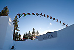 Ryan Linnert in this composite sequence image at the Nike Chosen snowboard competition at Heavenly Valley in South Lake Tahoe. Photo by Scott Sady - Novus Select