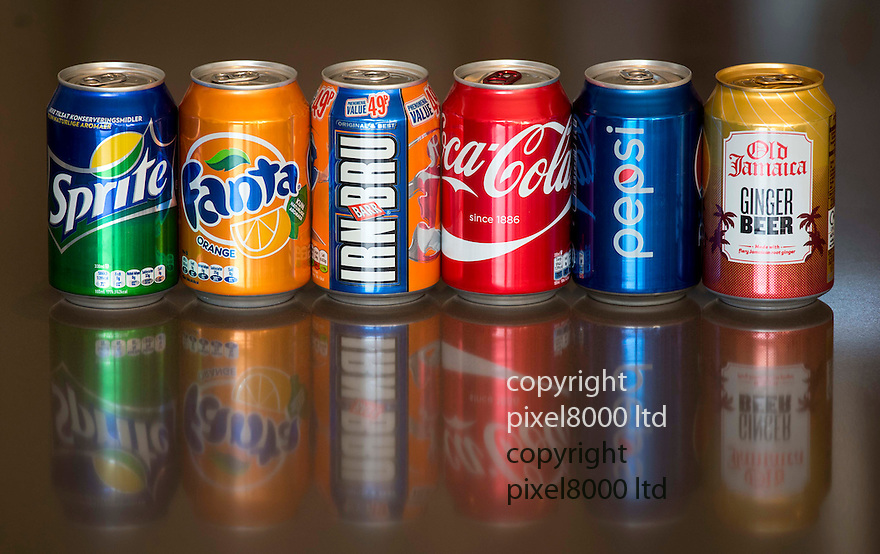 Pic shows:  Sugar tax on cans of soft drinks.<br /> <br /> L to right.<br /> <br /> Sprite 6.6 grams of sugar per 100ml<br /> Fanta  6.9g<br /> IRN BRU  10.3g<br /> Coca Cola  10.6g<br /> Pepsi  10.6g<br /> Old Jamaica Ginger Beer  15.2g - (The daddy)<br /> <br /> <br /> Pic by Gavin Rodgers/Pixel 8000 Ltd