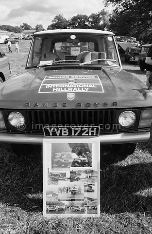 Very early 1970 Range Rover, Registration YVB 172H, Engine 3.5 ltr V8 petrol. Dunsfold Open Day 2002. No releases vailable, but releases may not be necessary for certain uses. Automotive trademarks are the property of the trademark holder, authorization may be needed for some uses. --- Info: YVB 172H is one of the 28 Range Rover pre-production prototypes bulit in 1970 prior to its launch in June 1970.
