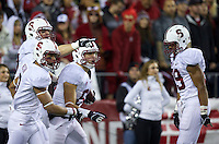 SEATTLE, WA - September 28, 2013: Stanford players wide receiver Devon Cajuste, third from left, wide receiver Michael Rector Stanford, wide receiver Jordan Pratt, second from led,t and wide receiver Kelsey Young celebrate a touchdown during play against Washington State at CenturyLink Field. Stanford won 55-17