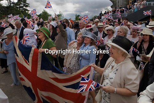Ascot Horse Racing, Berkshire, England.2006. Rule Britannia, and Land of Hope and Glory, around the band stand at the end of the days races.