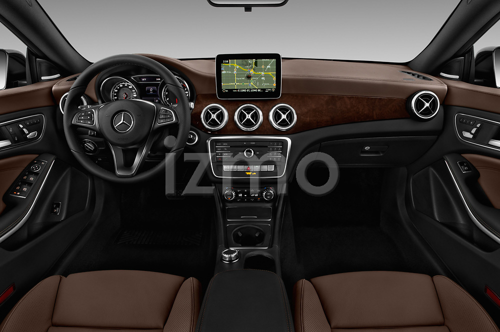 Stock photo of straight dashboard view of a 2019 Mercedes Benz CLA CLA250 5 Door SUV