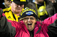 Fans celebrate during the Super Rugby semifinal match between the Hurricanes and Chiefs at Westpac Stadium, Wellington, New Zealand on Saturday, 30 July 2016. Photo: Dave Lintott / lintottphoto.co.nz