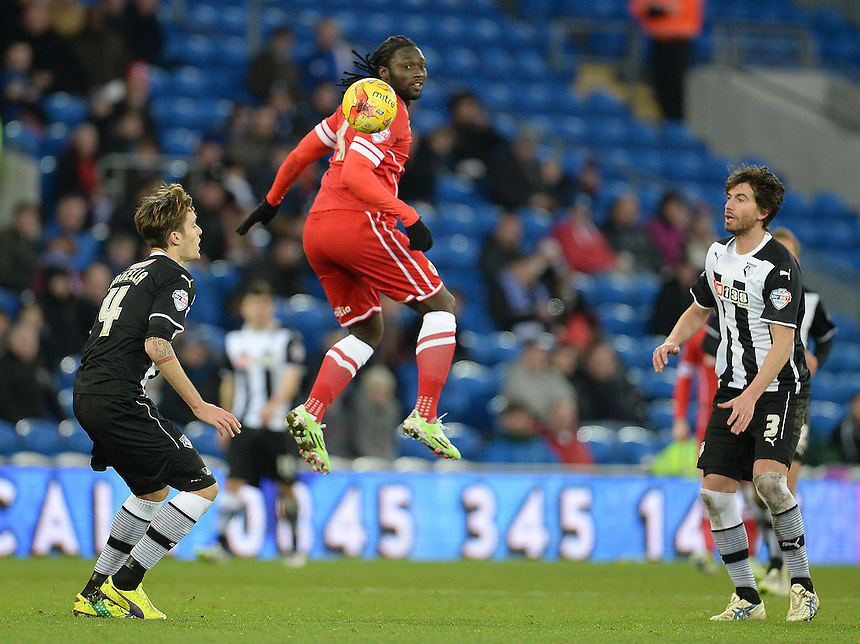 Cardiff City's Kenwyne Jones in action during todays match  <br /> <br /> Photographer Ian Cook/CameraSport<br /> <br /> Football - The Football League Sky Bet Championship - Cardiff City v Watford - Saturday 28th December - Cardiff City Stadium - Cardiff<br /> <br /> &copy; CameraSport - 43 Linden Ave. Countesthorpe. Leicester. England. LE8 5PG - Tel: +44 (0) 116 277 4147 - admin@camerasport.com - www.camerasport.com