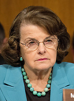 """United States Senator Dianne Feinstein (Democrat of California), questions the witnesses during the US Senate Select Committee on Intelligence open hearing titled """"Disinformation: A Primer in Russian Active Measures and Influence Campaigns"""" on Capitol Hill in Washington, DC on Thursday, March 30, 2017. Photo Credit: Ron Sachs/CNP/AdMedia"""