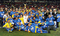 Brazil celebrate with the Confederations Cup. Brazil defeated USA 3-2 in the FIFA Confederations Cup Final at Ellis Park Stadium in Johannesburg, South Africa on June 28, 2009.