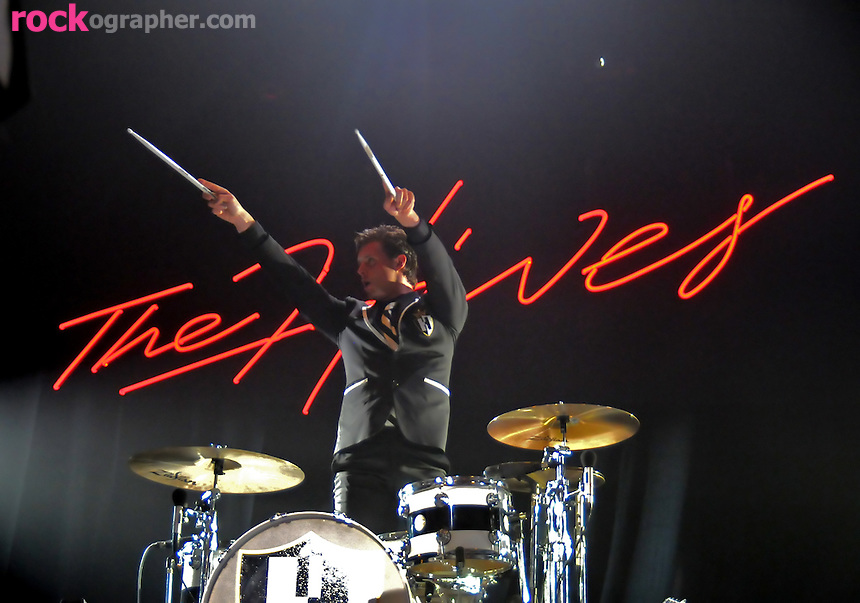 Drummer Christian Grahn from Swedish garage rockers The Hives perform at Terminal 5 , NYC