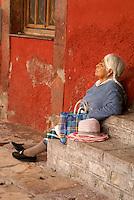 Elderly indigenous woman in San Miguel de Allende, Mexico. San Miguel de Allende is a UNESCO World Heritage Site....