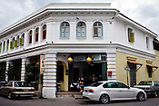 The facade of Straits Collection hotel in Penang in the UNESCO heritage city of Georgetown in Penang, Malaysia. The Straits Collection on Stewart Lane (built in 1927) is one row of 5 houses is an eclectic mix of Retail, Restaurants and Residences. Photo: Sanjit Das/