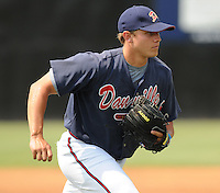 July 15, 2009: 2009 draft pick RHP Thomas Berryhill (23) of the Danville Braves, 5th round draft pick of the Atlanta Braves, prior to a game against the Elizabethton Twins at Dan Daniel Memorial Park in Danville, Va. Photo by:  Tom Priddy/Four Seam Images