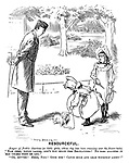 "Resourceful. Keeper of Public Gardens (to little girls, whose dog has been roaming over the flower-beds). ""Now then, young ladies, don't you know the Regilations? No dogs allowed in 'ere unless they're led."" ""Oh, bovver! Here, Fido! Good dog! Catch hold and lead yourself about!"""