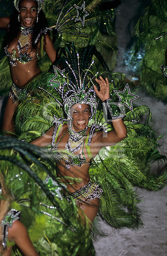 Rio de Janeiro, Brazil. Carnival: Mocidade samba school sambista dancers with green feather costumes.