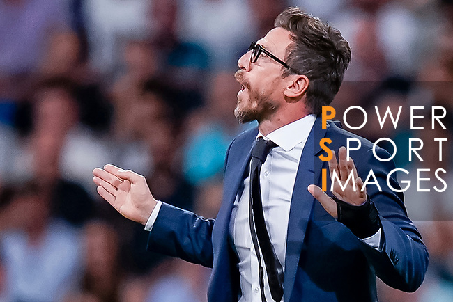 Coach Eusebio Di Francesco of Roma reacts during the UEFA Champions League 2018-19 match between Real Madrid and Roma at Estadio Santiago Bernabeu on September 19 2018 in Madrid, Spain. Photo by Diego Souto / Power Sport Images