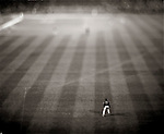 USA, Major League Baseball: Opening day of Baseball in Washington DC after decades of no team: The payoff - Arizona Diamondback right fielder Shawn Green waits for the action while the Nationals bat.