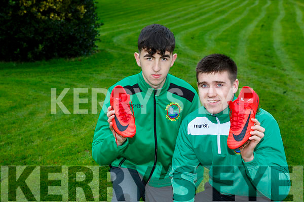 Castleisland soccer players Eddie Horan and Cathal O'Donoghue who were given Denmark striker Nicoli Jorgensen soccer boots after Denmarks victory in the Aviva Stadium Tuesday night