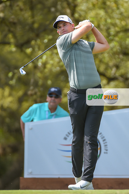 Aaron Wise (USA) watches his tee shot on 10 during day 1 of the WGC Dell Match Play, at the Austin Country Club, Austin, Texas, USA. 3/27/2019.<br /> Picture: Golffile | Ken Murray<br /> <br /> <br /> All photo usage must carry mandatory copyright credit (© Golffile | Ken Murray)