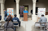 "Jesus Maldonado '00, Director of Upward Bound.<br /> Upward Bound hosts their annual ""End of the Year"" celebration with participants and their families on May 12, 2018 in the courtyard of Booth Hall. Jimmy Gomez, U.S. Representative for California's 34th congressional district, was the featured speaker at the event.<br /> Upward Bound was established at Occidental College in 1966 and has since served over 2000 first generation, low income students in the Los Angeles region.<br /> (Photo by Marc Campos, Occidental College Photographer)"