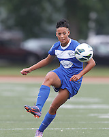 Boston Breakers forward Lianne Sanderson (10) collects a pass.  In a National Women's Soccer League Elite (NWSL) match, Sky Blue FC (white) defeated the Boston Breakers (blue), 3-2, at Dilboy Stadium on June 16, 2013.