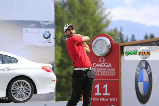 Alejandro Canizares (ESP) tees off the 11th tee during Saturday's Round 3 of the 2013 Omega European Masters held at Crans Montana Golf Club, Crans-Sur-Sierre Switzerland. 7th September 2013.<br /> Picture: Eoin Clarke www.golffile.ie