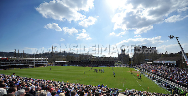 A view of the Recreation Ground from the Novia stand during the match. Aviva Premiership match, between Bath Rugby and Leicester Tigers on April 20, 2013 at the Recreation Ground in Bath, England. Photo by: Patrick Khachfe / Onside Images