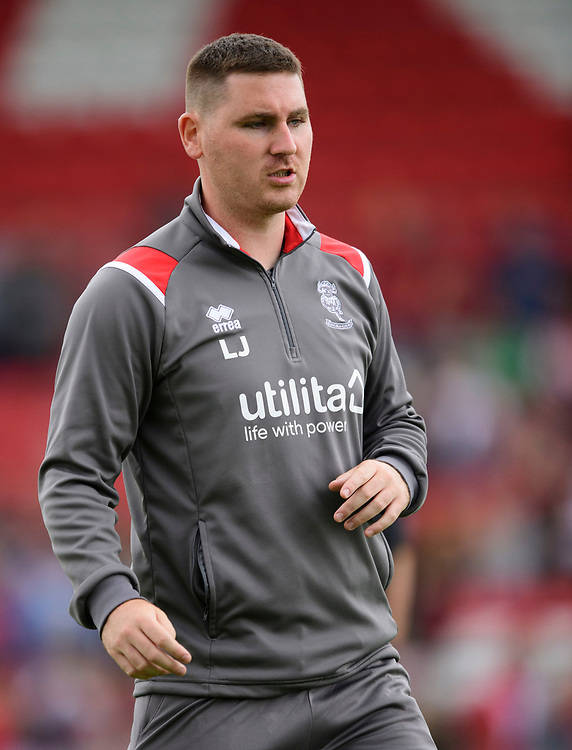 Lincoln City's lead sports scientist Luke Jelly during the pre-match warm-up<br /> <br /> Photographer Chris Vaughan/CameraSport<br /> <br /> Football Pre-Season Friendly - Lincoln City v Sheffield Wednesday - Saturday July 13th 2019 - Sincil Bank - Lincoln<br /> <br /> World Copyright © 2019 CameraSport. All rights reserved. 43 Linden Ave. Countesthorpe. Leicester. England. LE8 5PG - Tel: +44 (0) 116 277 4147 - admin@camerasport.com - www.camerasport.com