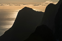 Silhouette of mountain peaks and sea, Senja, Norway