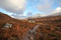 BNPS.co.uk (01202 558833)<br /> Pic: GeoffAllan/BNPS<br /> <br /> Coire Fionnaraaich Bothy in the northwest highlands.<br /> <br /> Wilderness walks - new book takes you down paths less travelled in the beautiful Scottish highlands.<br /> <br /> The stunning photos reveal Scotland's best remote walks, and also provide a rudimentary roof over your head at the end of the day. <br /> <br /> Geoff Allan has spent over 30 years travelling the length and breadth of the scenic country, passing through idyllic and untouched landscapes.<br /> <br /> The routes he has selected feature secret beaches, secluded glens, hidden caves and mountains.<br /> <br /> They also include bothies - remote mountain huts - which provide overnight shelter in the wilderness.<br /> <br /> Geoff has listed his top 28 trails complete with GPS maps and descriptions in his book Scottish Bothy Walks.