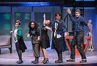 "From left: Rosie Stevenson '22 as DOMINATOR; Noa Carlson '22 as MO(NIQUE); Nina Srdić Hadži-Nešić '21 as DR. HALLIE; Carey Cannata '21 as DR. GALL; Mitch Carswell '20 as BIG AL<br /> Photo from the dress rehearsal of the Occidental College Department of Theater presentation of U-R-U by Julia Lederer, directed by Edgerton Guest Artist Jessica Kubzansky, Nov. 28, 2018 in Keck Theater.<br /> First daughter Helen Spectacular travels to Robo Island (Silicon Valley meets the Bermuda Triangle) on a secret mission to free thousands of robots from servitude. Absurdly comic and existentially chilling, U-R-U examines the societal obsession with progress at all costs and the decreasing worth of humanity in this increasingly artificial world.<br /> U-R-U is based on a 1920 science fiction play by the Czech writer Karel Čapek called R.U.R., which was the first time the word ""robot"" was used.<br /> (Photo by Marc Campos, Occidental College Photographer)"