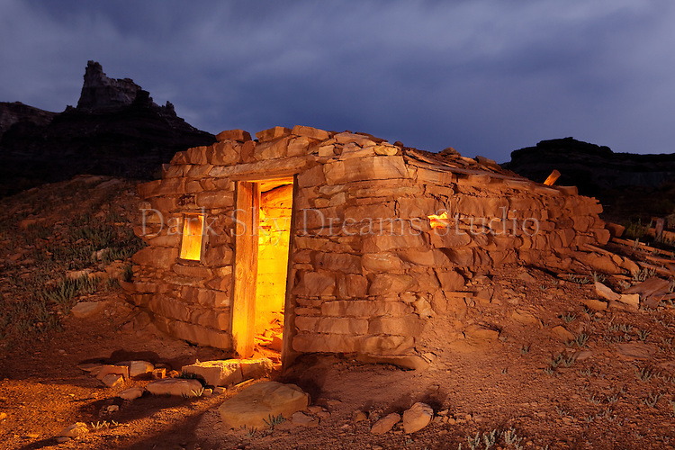 Stone cabins at the Temple Wash Townsite, located near Goblin Valley State Park, Utah