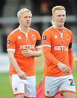 Blackpool's Callum Guy walks out, followed by Mark Cullen<br /> <br /> Photographer Kevin Barnes/CameraSport<br /> <br /> Emirates FA Cup First Round - Exeter City v Blackpool - Saturday 10th November 2018 - St James Park - Exeter<br />  <br /> World Copyright &copy; 2018 CameraSport. All rights reserved. 43 Linden Ave. Countesthorpe. Leicester. England. LE8 5PG - Tel: +44 (0) 116 277 4147 - admin@camerasport.com - www.camerasport.com