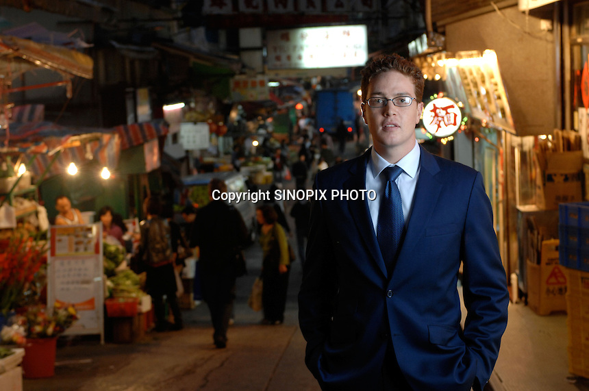 Matthew Reid poses in Cental market, Hong Kong.<br />
