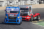 German driver Stephanie Halm belonging German team Stephanie Halm Hungarian driver Norbert Kiss belonging German team Tankpool 24 Racing during the third race R3 of the XXX Spain GP Camion of the FIA European Truck Racing Championship 2016 in Madrid. October 02, 2016. (ALTERPHOTOS/Rodrigo Jimenez)